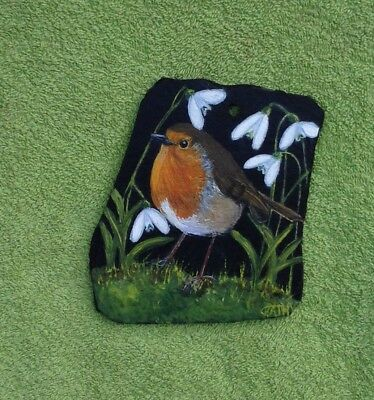 Robin In Snowdrops Original Oil On Slate Painting Wall Hanging