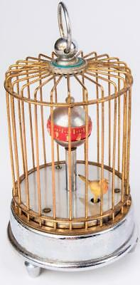 Antique Novelty Japan 30 Hour  Windup Brass Bird Cage Clock Windup mechanical
