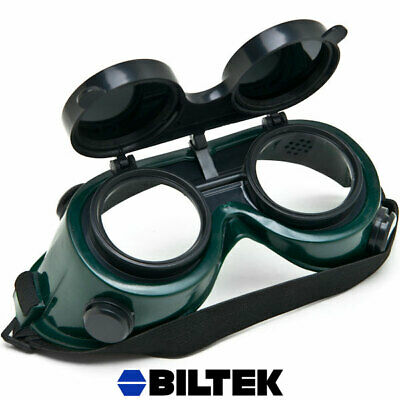 Welding Solder Goggles w/ Flip Up Darkened Cutting Grinding Safety Glasses Green