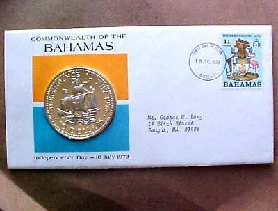 1973 Commonwealth Of The Bahamas 1St Day Of Issue Cover W/proof 10 Dollar Coin