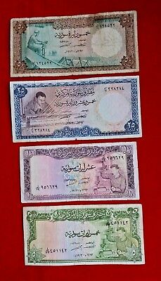 Syria / Set 4 Notes 5 10 25 50 Syrian Pounds (1973) As In Scan