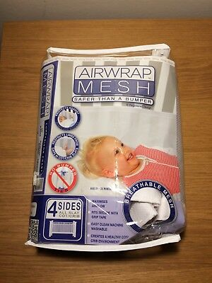 White AIRWRAP MESH 2 piece cot bumper that wraps around the full cot