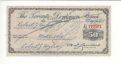 Canada  50 Dollars  Travelers Chk Toronto Dominion Bank 1963  Used And Paid   Ef