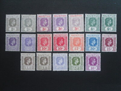 MAURITIUS KGV1 1938 Set to 10r with extra shades etc. MH