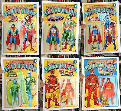 6 Signed Giclee Prints Super Wars Marvel Dc Mash Up Action Figures Lmt Edition