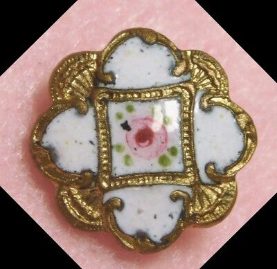"""Small ANTIQUE Enamel Button Tiny VICTORIAN ROSE Pink White & Gold 1/2"""""""