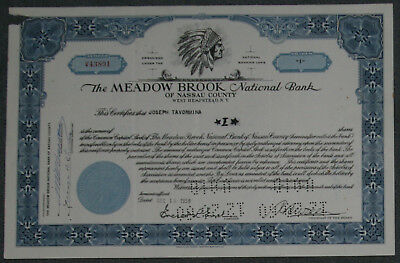 The Meadow Brook National Bank 1959 1 Share .