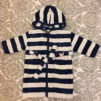 John Lewis Baby Fleece Dressing Gown Robe 6-9months Blue And White Stripped