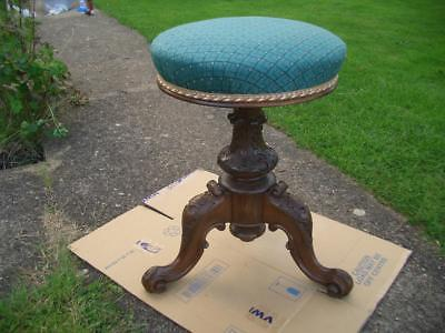 Victorian carved walnut piano stool, tripod, revolving, antique
