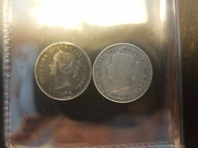 Canada 5 Cents 1870,1890 Two Coins