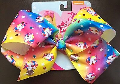 "Nickelodeon JoJo Siwa Girls Unicorn Rainbow Rhinestones Ombre 7"" Bow Hair Clip"