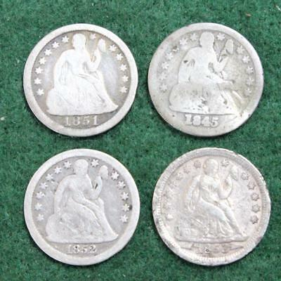 Seated Liberty Dimes (Lot Of 4 Coins)