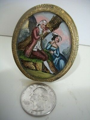 Antique French Miniature Hand Painted Portrait Couple Ormolu Frame Beautiful