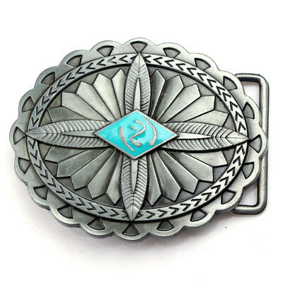 Alloy Vintage Embossed Indian Totem Sharp Feather Belt Buckle Antique Silver