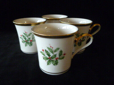 Lenox Made in USA HOLIDAY Lot of 4 Mugs  - Excellent - Free USA Shipping