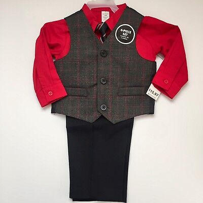 Baby Boy's Four-Piece Holiday Christmas Suit Set Red Size 18 Months