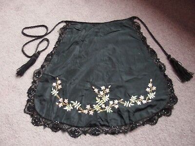 Antique Victorian vintage hand embroidered silk and beaded lace apron