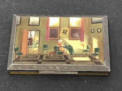 Antique Bruder Frank 935 Silver Dresser box, Guilloche and Enamel RARE