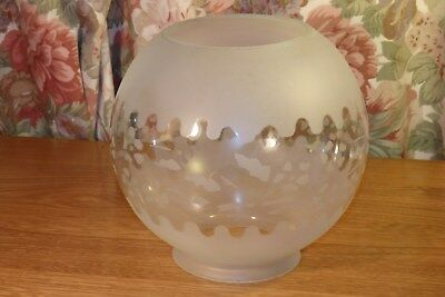 Antique / Vintage Etched Oil Lamp Glass Shade, 4 Inch Fitting Size