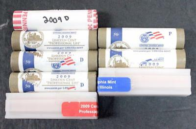"""2009 P&d Lincoln Cent """"professional Life """" Unc. Obw Rolls & Sealed Tubes!"""