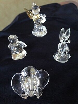 Lot of Four Crystal Glass Small Animal Figurines