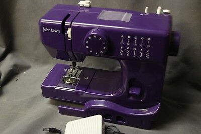 John Lewis JL Mini Sewing Machine - Purple and working