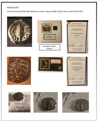 Roman Coins-3: Herod the Great, Christ Era, Tetricus: 2 with COA and mounted