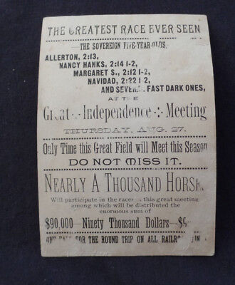 Horse racing history! Independence Iowa  trade card 1890s Allerton (5-year-old)