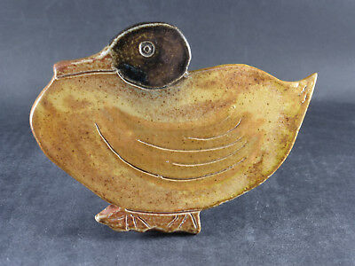 Rowena Kinsman Salt Glazed Stoneware Duck Studio Pottery Signed Marked