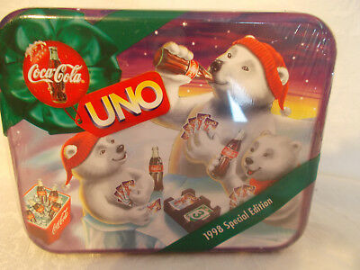 New Coca Cola 1998 Special Edit. Uno Family Card Game in Collectible Tin SEALED