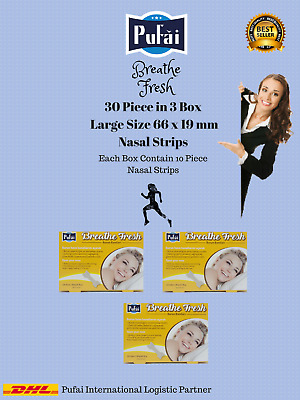 Breathe Fresh Nasal Strips ,30 piece in 3 box , Large Size 66x19 mm by Pufai