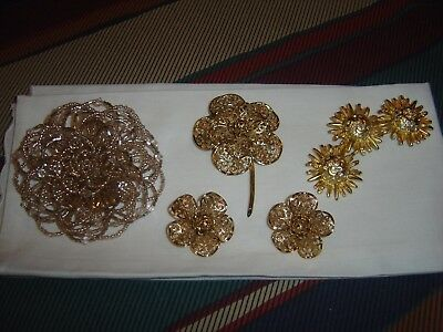 Vintage - Lot Of Five - Pins, Brooches, Earrings To Match  - Only 3 Shown Here