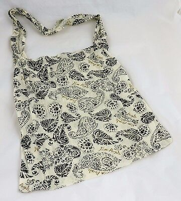 Free People Tote bag reusable linen sheer cream paisley shopping cross body eco