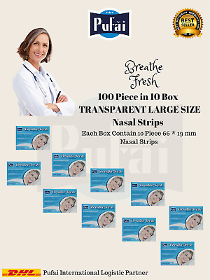 Breathe Fresh Nasal Strips 100 piece in 10 box, TRANSPARENT Large Size by Pufai