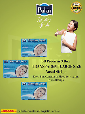 Breathe Fresh Nasal Strips 30 piece in 3 box, TRANSPARENT Large Size by Pufai