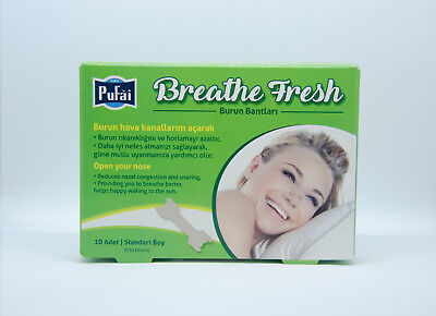 Breathe Fresh Nasal Strips 10 piece in 1 box, STANDART SIZE 55 x 16 mm by Pufai