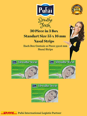 Breathe Fresh Nasal Strips 30 piece in 3 box, STANDART SIZE 55 x 16 mm by Pufai