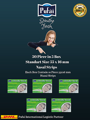 Breathe Fresh Nasal Strips 50 piece in 5 box, STANDART SIZE 55 x 16 mm by Pufai