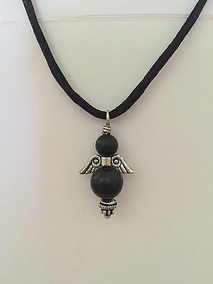 SHUNGITE Angel Pendant Made With 9mm & 6mm Beads PROTECTS Heals🎁free Gift Wrap