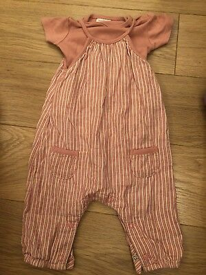 Baby Girls 3-6 Months Next Striped Dungarees Outfit