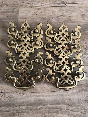 Lot Of 8 Vintage Brass Furniture Pulls Chippendale Antique