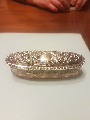 Chester Silver Hall Marked Lidded Glass Dish