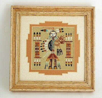 NATIVE AMERICAN AUTHENTIC NAVAJO SAND PAINTING FRAMED PICTURE Hand Made Folk Art