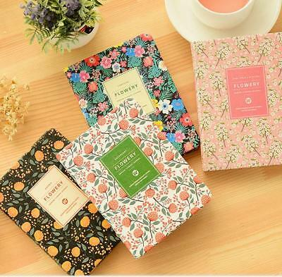 Notebook Floral Flower Schedule Book Diary Korean Cute PU Leather Cover Planner
