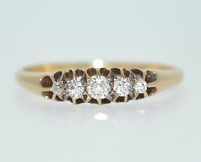 Antique late Victorian 18ct gold diamond five-stone ring.