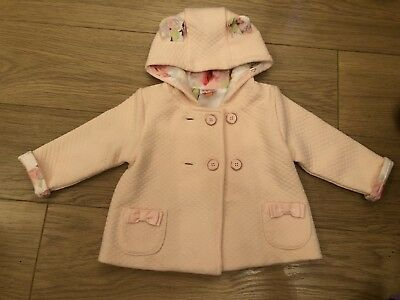 Baby Girls Cute Ears Ted Baker Jacket Quilted Pink 3-6 Months