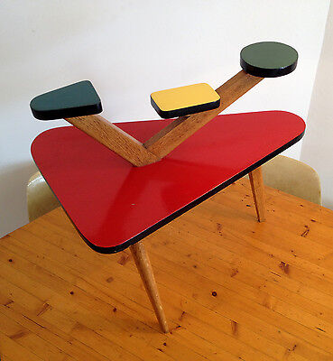 Table / Sellette tripode chêne 1950 porte-plantes (Guariche, Mondrian, Pop Art)