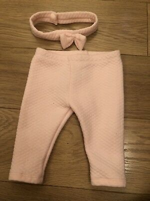Baby Girls Ted Baker 3-6 Months Quilted Pink Trousers And Headband