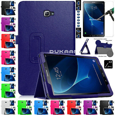 "Tempered Glass + Leather Stand Case For Samsung Galaxy Tab A6 10.1"" T585 T580"