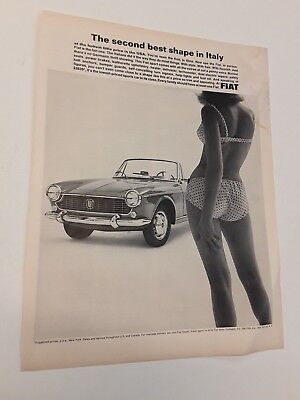 1965 Fiat Sports Car Convertable - Sexy Butt On Sexy Girl In Ad - Ad Original